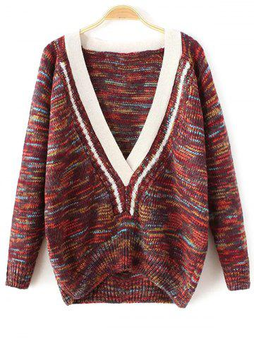 Plunging Neck Space-Dyed Sweater - Dark Red - One Size
