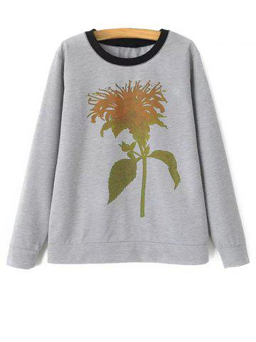Fashion Crew Neck Plant Print Sweatshirt