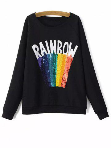 Chic Round Neck Rainbow Sequins Sweatshirt