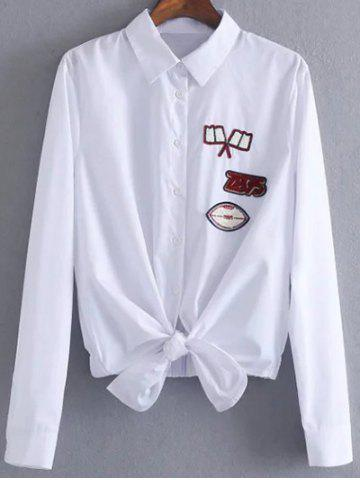 Latest Button Up Patched Front Knot Blouse WHITE M