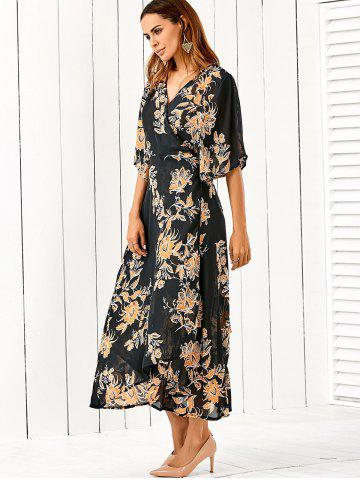 Best V Neck Flower Print Kimono Maxi Wrap Dress FLORAL 2XL