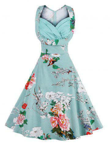 Discount Retro Sweetheart Neck Sleeveless Swing Floral Dress - XL LIGHT BLUE Mobile