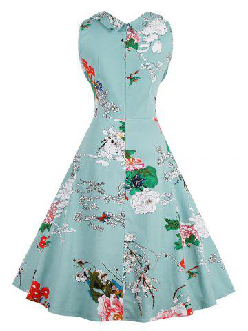 Unique Retro Sweetheart Neck Sleeveless Floral Dress - L LIGHT BLUE Mobile