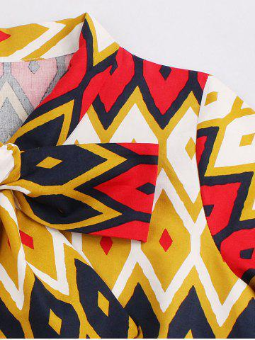 New Retro Bow Tie High Waisted Printed Dress - 4XL GINGER Mobile