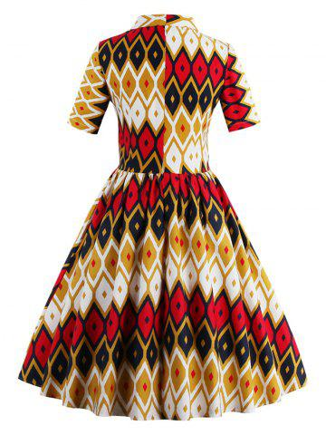 Store Retro Bow Tie High Waisted Printed Dress - 2XL GINGER Mobile