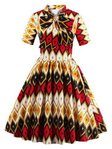Store Retro Bow Tie High Waisted Printed Dress - XL GINGER Mobile