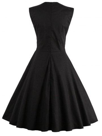 Hot Polka Dot Semi Formal Midi Skater Dress - L BLACK Mobile