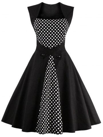 Trendy Polka Dot Semi Formal Midi Skater Dress BLACK XL
