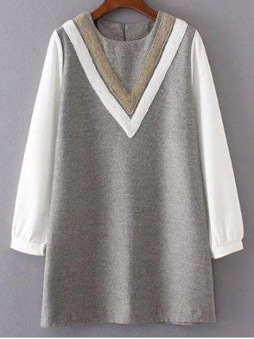 Affordable Round Neck V Pattern Wool Spliced Shift Dress GRAY L