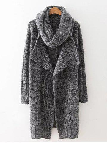 Buy Drape Front Long Cardigan With Non-Detachable Knitted Scarf GRAY ONE SIZE