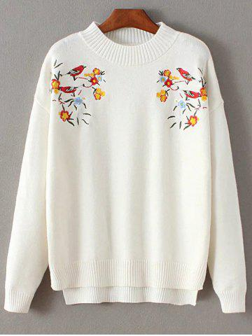 Unique Mock Neck Bird Embroidered Knitwear