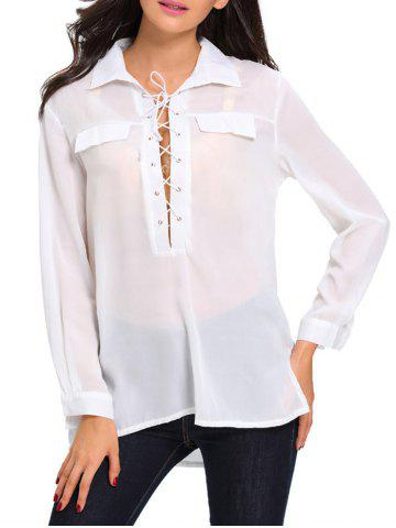 Shops High Low Hem Sheer Lace Up Front Shirt WHITE L