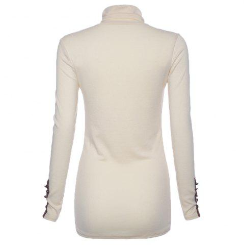 Buy Bead Splicing Turtle Neck Sweater - ONE SIZE WHITE Mobile