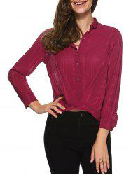 Plaid Wrap Chiffon Button Down Crop Shirt -