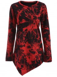 Tie Dye Long Sleeve Asymmetric Short T-Shirt Dress - DARK RED