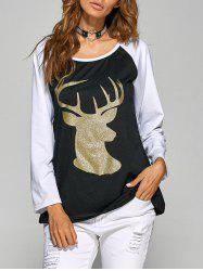 Christmas Deer Raglan Sleeve Tee - BLACK XL