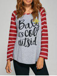 Stripe Letter  Raglan Sleeve Tee - GRAY XL