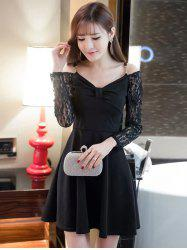 Cold Shoulder Lace Splicing Swing Dress