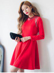 High Waist Beaded Swing Dress - RED L