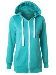 Casual Drawstring Long Sleeve Zipper Up Hoodie -