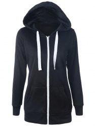Casual Drawstring Long Sleeve Zipper Up Hoodie - BLACK