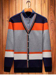 Button-Down Collar Color Block Pullover Faux Twinset Top -