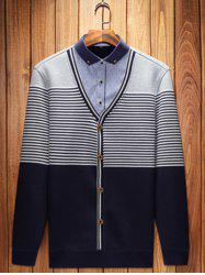 Button-Down Collar Striped Pullover Faux Twinset Top -