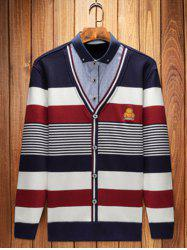 Shirt col broderie Striped Pull Faux Twinset Top -