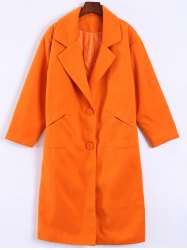 Pocket Design Long Lapel Woolen Overcoat - ORANGEPINK