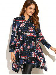 Asymmetric Union Flag Print Shirt Dress