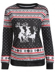 Christmas Deer Print Pullover Sweatshirt - BLACK