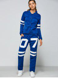 Single Breasted Jacket and Number Print Pants -