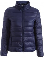 Zip Up Quilted Jacket - PURPLISH BLUE