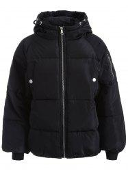Zip Up Hooded Puffer Jacket - BLACK M