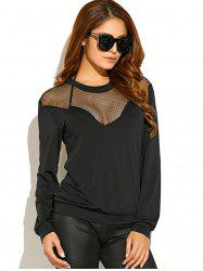 See-Through Sheer Panel Long Sleeve T-Shirt