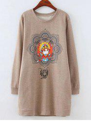 Furcal Facial Makeup Lotus Print Sweatshirt
