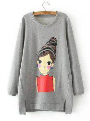 Fleece Cartoon Girl Print Asymmetric Sweatshirt
