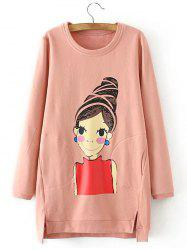 Fleece Cartoon Girl Print Asymmetric Sweatshirt - SHALLOW PINK