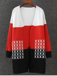 Couleur du motif Splicing Cross Cardigan en maille - Noir + Blanc + Rouge