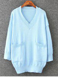Long Pullover Plus Size V Neck Sweater with Pockets -