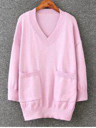 Long Pullover Plus Size V Neck Sweater with Pockets - PINK