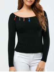 Colorful Fringed Bodycon Pullover Knitwear -