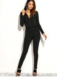 Zipper Up Hooded Jumpsuit