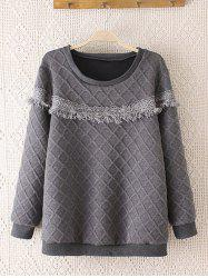 Rhombus Pattern Crochet-Trim Thicken Sweatshirt -