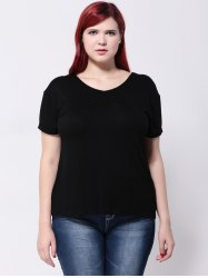 Hemming Sleeves Drop Shoulder T-Shirt -