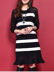 Ruffles Hem Insert Striped Knit T-Shirt Dress