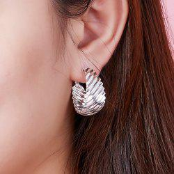 Curved Metal Pleated Hoop Earrings