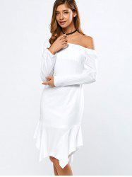 Off-The-Shoulder Long Sleeve Asymmtric Flouncing Dress