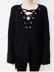 Batwing Sweater with Criss Cross Bandage -
