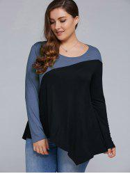 Plus Size Asymmetrical T-Shirt - BLUE AND BLACK 5XL